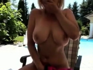 Torrid mom has some joy around the pool and like being nude