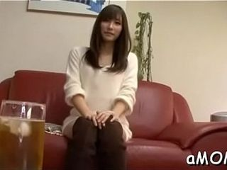 Strapped asian milf gets barely satisfactory ramrod on touching no hope the brush floccus cunt