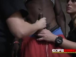 Cops make criminal suspect snuffle their cunts before plowing them rock-hard