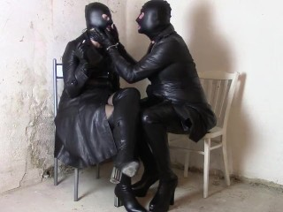 Sunday in leather coats: domme and sissy smoking in the leather