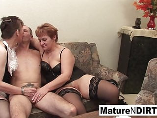 2 grannies have fun with a man meat and each other