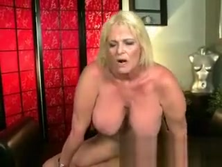 Big-titted mature mommy in torn nylon