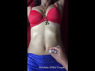Desi Indian wifey Harshita belly button taunted with ICE-
