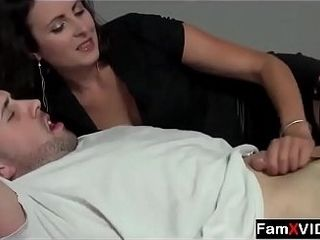 Canadian super-steamy mother hand job to son