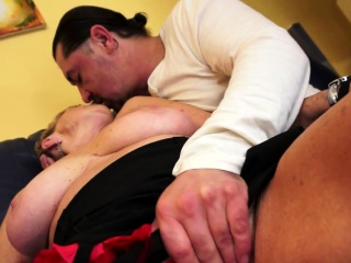 Fat euro grandma gets spooned strongly