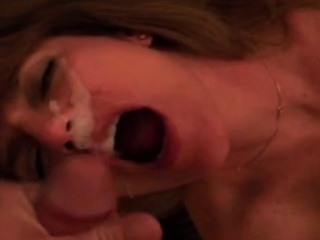 Mature red-haired freckled wifey gargles, gets facial cumshot
