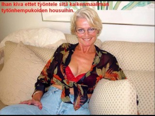 Slideshow surrounding Finnish Captions: old lady Justine 3