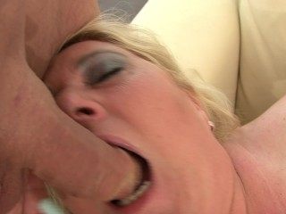 Blonde amateur fat curvy MILF sucking dick in POV view