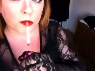 Chubby mature whore with heavy makeup was smoking a cigarette