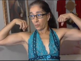 Latina granny flexex their way calves added to biceps