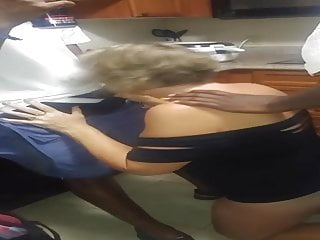 Cuck films wifey fellating big black cock in the kitchen