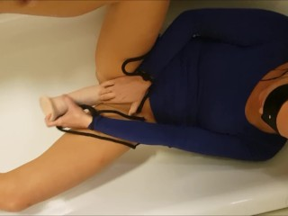 Wifey unbound, laying in the bath screwing her self with the beloved fucktoy