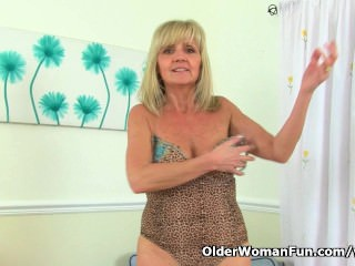 British gilf Dolly pushes spiffy tidy up dildo in spiffy tidy upll directions say no to gypsy