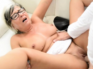 Spex granny fucked with an increment of jizzed atop special