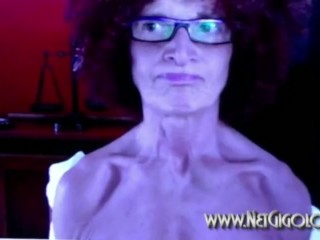Emaciated nerdy Granny exposed to webcam