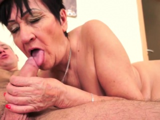 Grannies age-old pussy jizzed