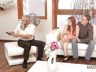 DADDY4K. Chick's clean-shaved beaver is finger-banged by elder dude and...