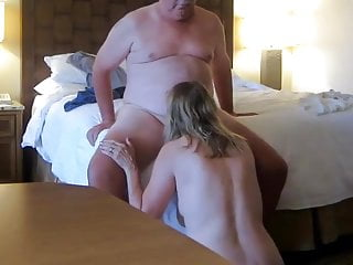 Naked wifey throating on my rod